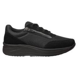 1083-000-0 Wallin Flex 3D-mesh/suede black/black black dames comfortsneaker met vetersluiting en ritssluiting