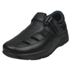 2034-300-00 45 graden Wallin Mover Sandal leer black black/black heren comfortsneaker