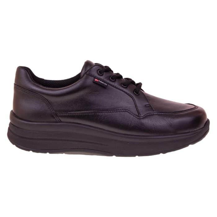 Proflex dames comfortsneaker in zwart leer met een zwarte zool 1400-000-0-ZIJKANT