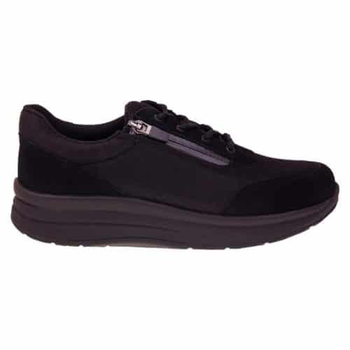 Proflex dames comfortsneaker in zwart mesh en zwart suede met een ritssluiting en vetersluiting en een zwarte zool 1605-000-0