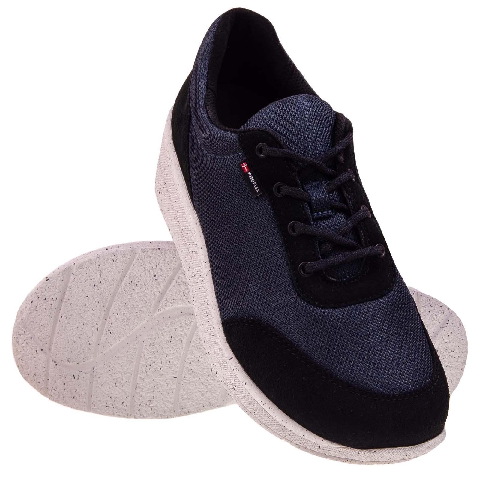 1603-008-1 - Proflex_dames_comfortsneaker_in_donkerblauw_mesh_en_zwart_suede_met_een_witte_zool_PAAR_1603-008-1