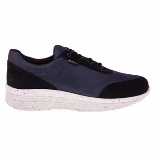 1603-008-1 - Proflex_dames_comfortsneaker_in_donkerblauw_mesh_en_zwart_suede_met_een_witte_zool_ZIJKANT_1603-008-1