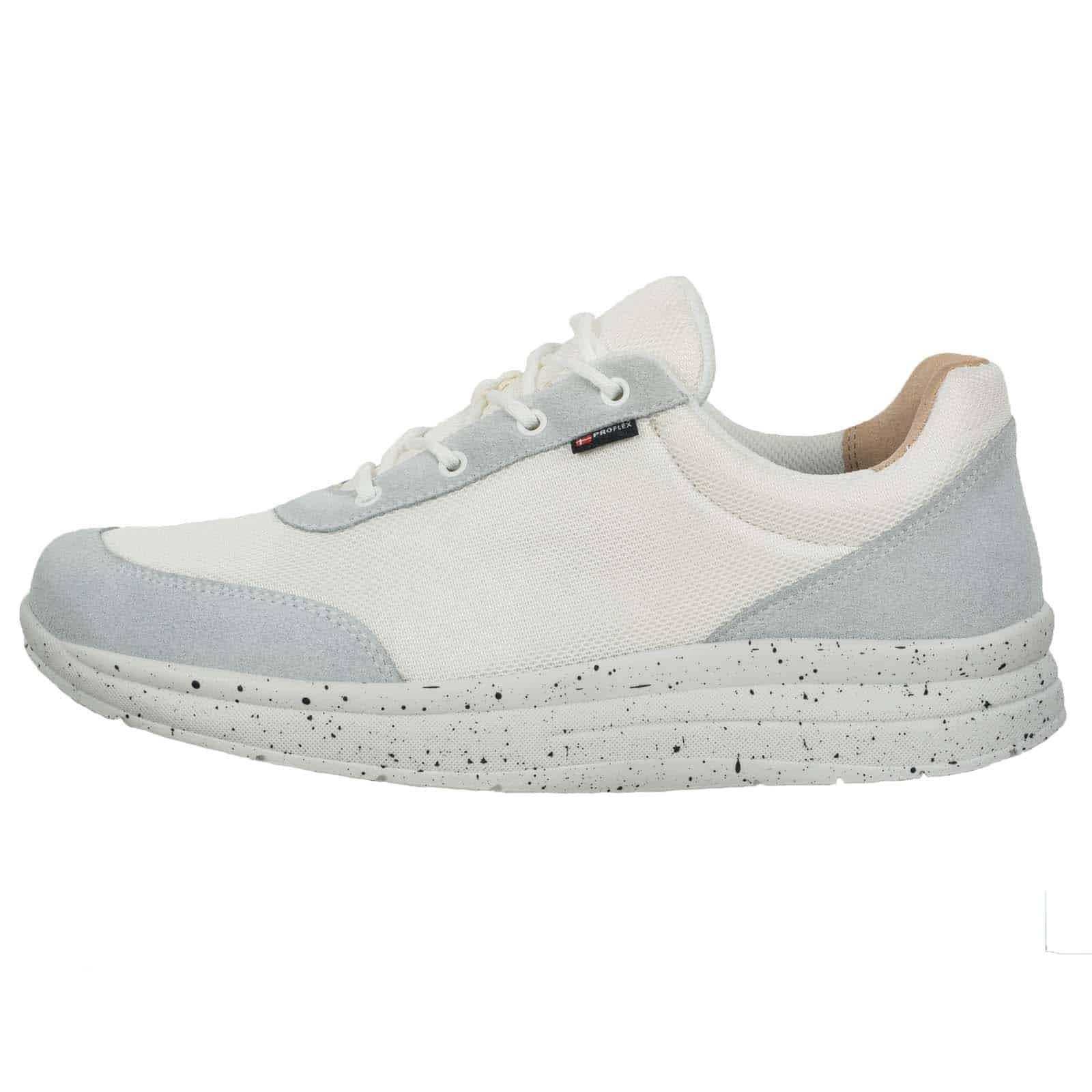 Proflex heren comfortsneaker wit met witte spikkelzool 1014-001-1-zijkant