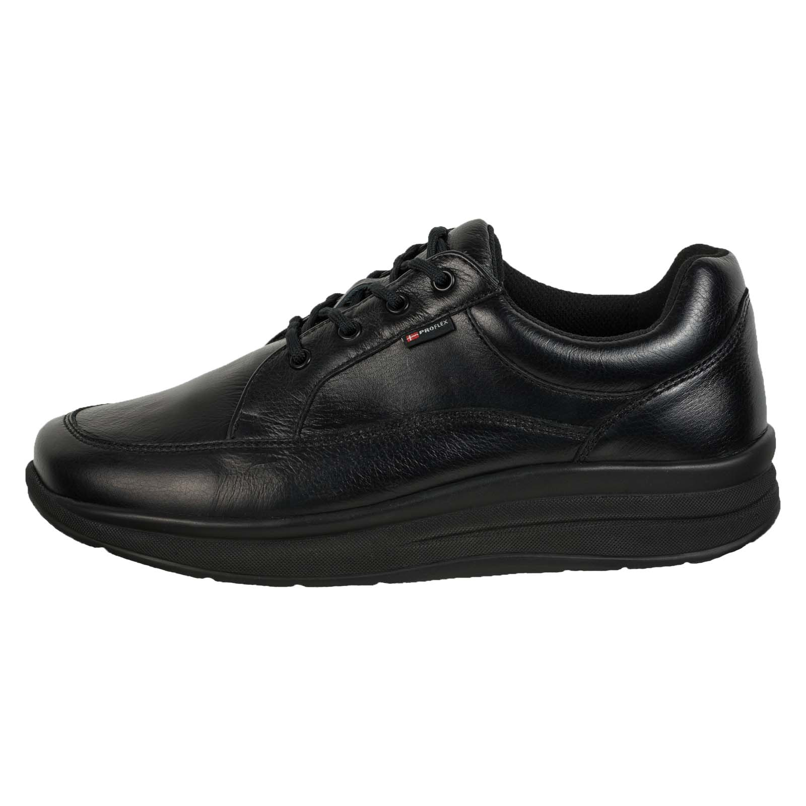 Proflex heren comfortsneaker in zwart leer en zwart suede met een zwarte zool (1024-300-0)