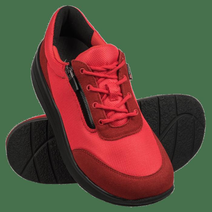 Profles dames comfortsneaker rood met zwarte zool en rits 2603-006-0-paar