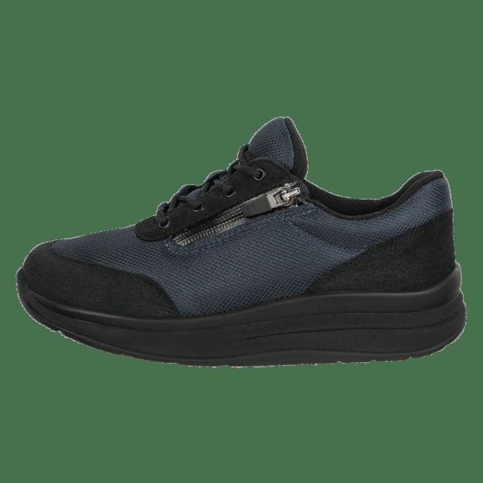 Proflex dames comfortsneaker donkerblauw met zwarte zool en rits 2603-008-0-zijkant